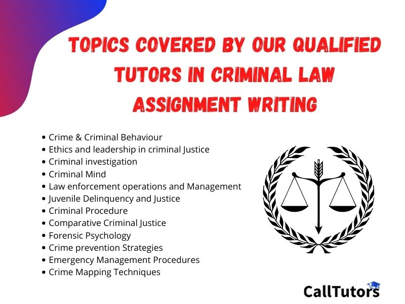 Topics covered by our Qualified Tutors in Criminal Law Assignment Writing Help